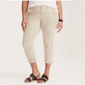 Torrid Cropped Twill Military Pant Tan 18 #3653